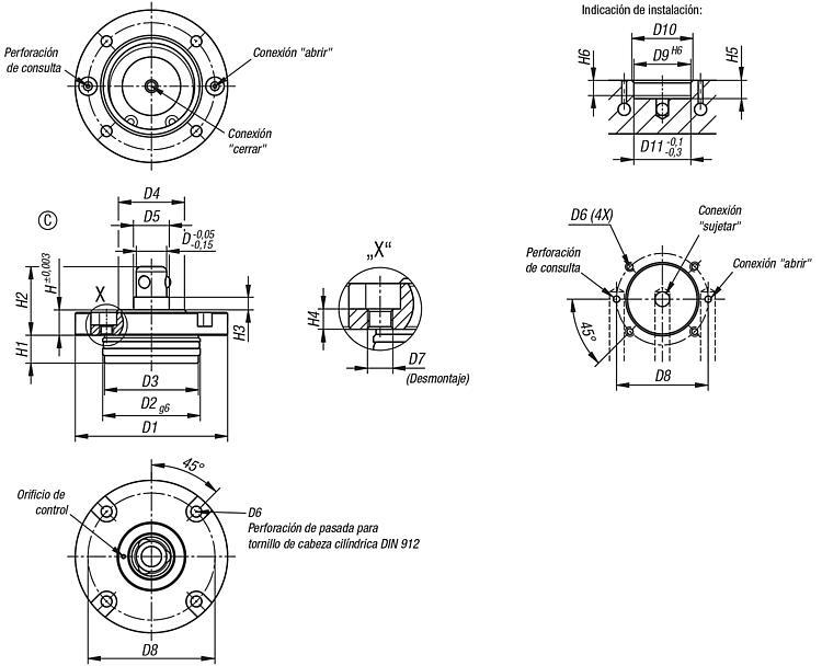 Planos de un cilindro neumatico