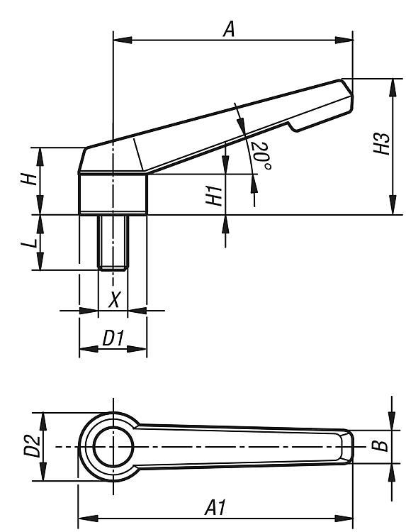 Kipp Palancas de sujeci/ón/ /Componente Acero inoxidable k0270.2081 1/pieza /Pl/ástico /Talla 2/M8/ /schwarzgrau/ rosca interior/